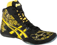 Asics Split Second 9 LE - TATOO - Wrestling Shoes - Black/Yellow -- Check this awesome image @ http://www.amazon.com/gp/product/B009FEOM06/?tag=lizloveshoes-20&op=170716215716