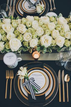 "[""Mod Trim"" inspiration for wedding] Gorgeous black, white and gold table setting, via Style Me Pretty."