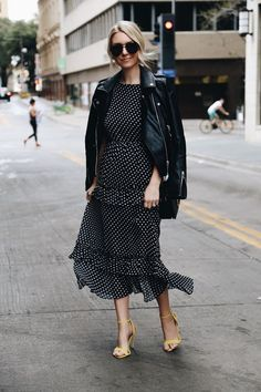 A Chic Way To Wear Polka Dots: a polka dot maxi dress with leather jacket