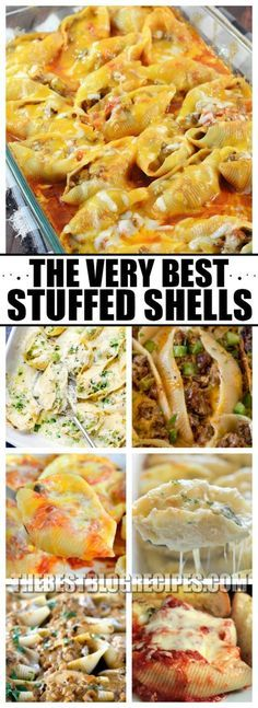 Stuffed shells are amazing and so easy to make, which is why we have compiled The Best Stuffed Shells Recipes! These recipes are perfect for a lazy weeknight meal, or a dinner to impress. With delicious and savory flavors, no one will be able to resist th Mexican Stuffed Shells, Stuffed Shells Recipe, Stuffed Pasta Shells, Stuffed Pasta Recipes, Italian Dishes, Italian Recipes, One Pot Meals, Easy Meals, Pasta Dinners