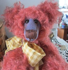 """""""Reilly""""one of the adult collectible mohair bears I make! He is for sale on my blog. heartseasebears.blogspot"""