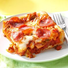 Quick & Easy Deep Dish Pizza Recipe -I was trying to impress my boyfriend with my cooking, so I made this meaty pizza. I think it worked. Here we are 17 years later, and I still make it for our family at least once a month, if not more! —Stacey White, Fuquay-Varina, North Carolina