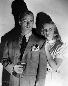 """Alan Ladd y Veronica Lake en """"El Cuervo"""", 1942"""