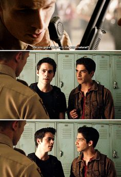 "Teen Wolf Season Episode 14 ""The Sword and the Spirit"" Scott McCall, Stiles Stilinski, and Deputy Jordan Parrish Teen Wolf Mtv, Teen Wolf Funny, Teen Wolf Memes, Teen Wolf Dylan, Teen Wolf Stiles, Teen Wolf Cast, Dylan O'brien, Malia Tate, Scott Mccall"