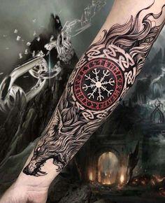 Viking Tattoo Sleeve, Viking Tattoo Symbol, Norse Tattoo, Viking Tattoo Design, Viking Tattoos, Sleeve Tattoos, Hand Tattoos, Helm Of Awe Tattoo, Thor Tattoo