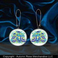 Daisy Blue Button Earrings Mother of Pearl Flower Picture Jewelry Handmade  #Handmade