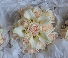Pearl Wedding Bouquet | Co-ordinating bouquets of roses, calla lilies and pearls for the ...
