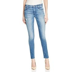 7 For All Mankind Squiggle Skinny Jeans in Red Cast Heritage Blue -... ($90) ❤ liked on Polyvore featuring jeans and red cast heritage blue