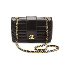 What Goes Around Comes Around Vintage Chanel Black Horizontal Stitch... ($2,690) ❤ liked on Polyvore featuring bags, handbags, chanel, clutches, chanel purses, quilted purse, lambskin handbag, lambskin purse and two tone purse