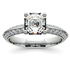 """Cut through her fears and show her that you mean it with the sublime Asscher Knife Edge Diamond Ring in Palladium! This beautiful engagement ring will definitely get her to say that sweet, resounding """"Yes!"""" http://www.brilliance.com/engagement-rings/knife-edge-diamond-ring-palladium-1/2-ctw"""