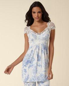 Soma Intimates Embraceable Cool Nights Tulip Lace Lovely Ivory Short Sleeve Top #somaintimates