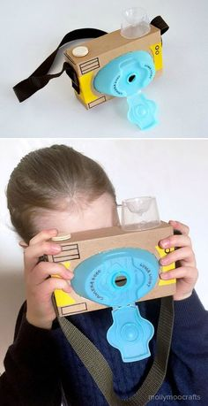 Recycled Cardboard Camera, the laundry detergent lid worked out so well for the . - - Recycled Cardboard Camera, the laundry detergent lid worked out so well for the … Cardboard Camera, Cardboard Crafts, Cardboard Playhouse, Cardboard Furniture, Recycled Furniture, Handmade Furniture, Easy Crafts For Kids, Diy For Kids, Fun Crafts