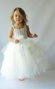 White Princess Ankle Length Tutu Dress. Flower Girl Tulle Dress with Lace Stretch Crochet Bodice.