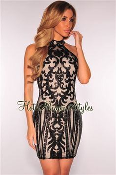 Black Victorian Sequins Nude Illusion Dress Womens clothing clothes hot miami styles hotmiamistyles hotmiamistyles.com sexy club wear evening  clubwear cocktail party kim kardashian dresses