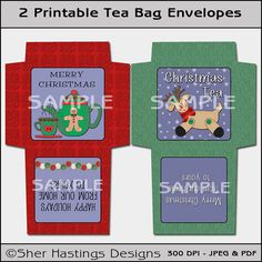 Christmas Tea Reindeer and Teapot - Tea Bag Envelope, Tea Bag Packet, or Party Favor - Printable  PDF & JPEG   Formats, DIY, Print Yourself
