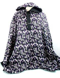 MARIMEKKO Purple Raindrop Print Reversible Poncho Anorak Rain Jacket One Size #Marimekko #Poncho