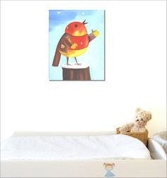 Nice oil painting for babies and kids room. artist Sybille Marquis. So colorful bird for babies eyes!