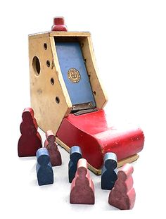 """1970s wooden Galt toy. Inspired by """"There was an old woman who lived in a shoe"""""""