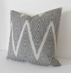 Gray and Tan chevron ikat decorative throw by pillowflightpdx