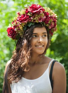 Large Statement Flower Crown Halo in Red by GroovieGhoulie2k14
