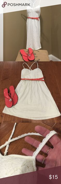 American Eagle Lace Dress Adorable cream colored cotton dress with shear lining underneath ( like a built in slip.) Like new. Size XS. Has built in padded bra and Lacey adjustable spaghetti straps. Has small thread belt loops. American Eagle Outfitters Dresses