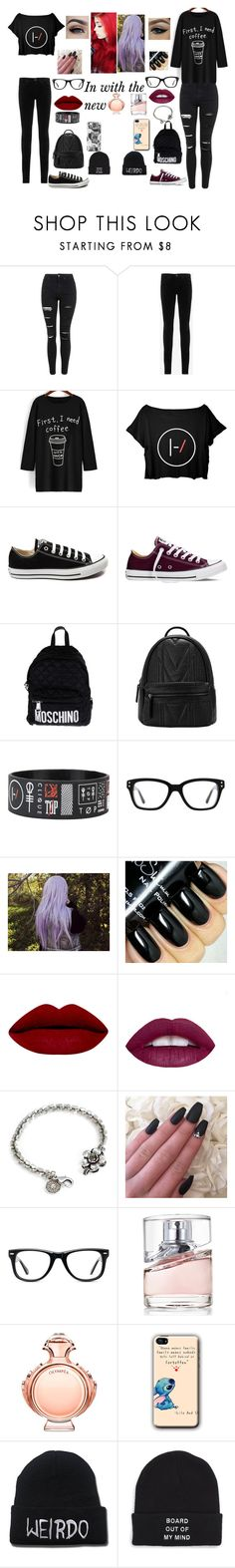 """In with the new"" by sbaez-2 ❤ liked on Polyvore featuring Topshop, AG Adriano Goldschmied, Converse, Moschino, Sweet Romance, Muse, HUGO, Paco Rabanne and Vans"