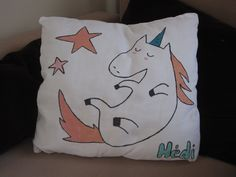 DIY pillow with unicorn