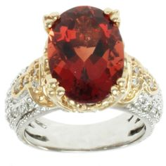 Michael Valitutti 14k Two-tone Gold Ruby Sunstone and Diamond Ring | Overstock.com Shopping - The Best Deals on Gemstone
