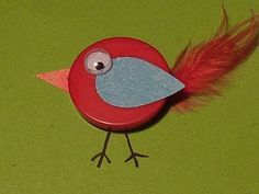 Button bird. Use a button, a feather, googly eye and paper to create this bird. Great for cardmaking, scrapbooking, etc.