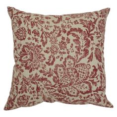 Floral Damask Pillow - RedTan