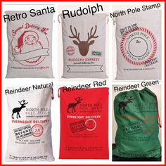 6 more of our Santa Sack Drawstring bags to choose from. We add names in HTV for multiple usies. Great gift