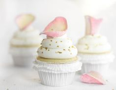 Absolutely precious Vanilla-Rose Water Cupcakes topped with Candied Rose Petals {Sprinkle Bakes cupcakes}
