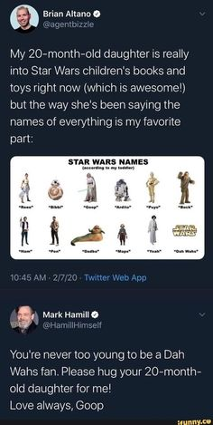 Not really a meme. But this was very wholesome. We dont deserve Mark Hamill Star Wars Padme, Star Wars Episoden, Star Wars Humor, Funny Videos, Funny Memes, Memes Humor, 9gag Funny, Star Wars Poster, Carrie Fisher