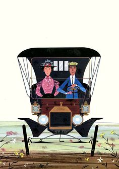 Couple in a car by Charley Harper.