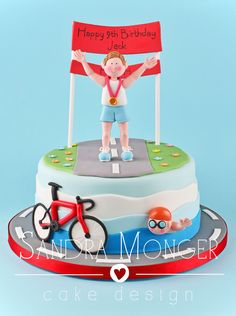 Triathlon birthday cake