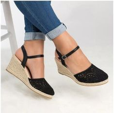 4d8281985a184e Large Size Women Summer Lace High Heeled Ankle Strap Round Toe Date Wedge  Sandals