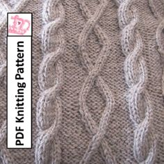 Knitting Pattern – Diamonds and Cable throw/afghan/blanket