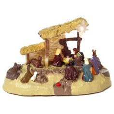 """11.25"""" Musical Nativity Scene   This Musical Nativity Scene allows you to here narration of the story about the birth of Jesus by just switching the button."""