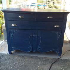 Chalk painted dresser in Superior Paint Co. Chalk Paint Dresser, Chalk Paint Colors, My Furniture, Furniture Makeover, Color Of The Year, Sapphire, Cabinet, Storage, Painting
