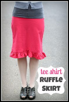 I totally made this really cute skirt out of a $2.50 tee shirt I bought at JoAnn's.  It was much easier than the last skirt and I probably l...