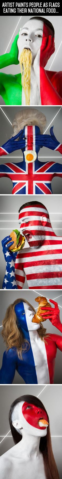 People painted as flags, why do we get a stupid hamburger... makes sense but...