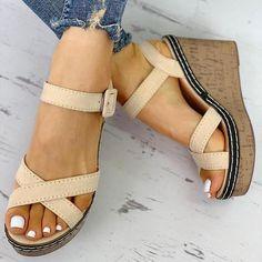 b9bf2b10f929 Suede Crisscross Design Wedge Sandals – jellynova