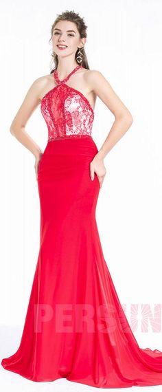 4470c65032b5a Longue Robe rouge vif en sirène sexy col licou avec empiècement de dentelle  pour corps sablier