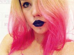 #hair #pink #pinkhair #makeup #hairstyle #lips #blacklips #black #girl #art #beauty #love #colours