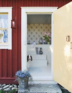 Red yellow and blue Swedish Cottage, Red Cottage, Swedish House, Cozy Cottage, Scandinavian Garden, Scandinavian Living, Scandinavian Interior, Unique Wallpaper, Home Wallpaper
