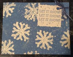 "Entered in simonsaysstampblog.com Monday Challenge ""Powder Power"" . Used Ultra Thick Embossing Enamel for snowflakes. Added tiny flakes background with 2nd generation stamping in white pigment ink.  Stamped text with blue ink, decked edges, tied to card with a ribbon."