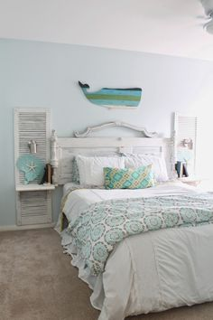 Wunderschöne Beachy Shabby Chic Schlafzimmer Dekor Ideen - Beauty Room Decor - Beachy Shabby Chic Schlafzimmer 22 The Ragged Wren Shabby Beachy Sc Bedroom Decor, Chic Bedroom Decor, Beachy Bedroom, Beach House Decor, Cottage Decor, Home Decor, Chic Bedroom, Home Bedroom, Shabby Chic Decor Bedroom