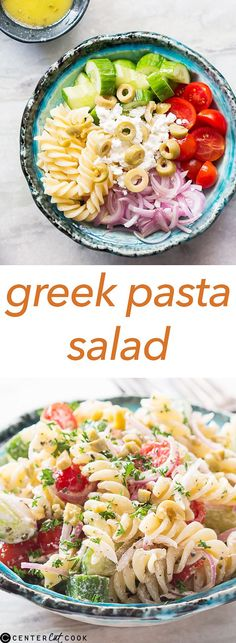 This GREEK PASTA SALAD is bursting with flavours, and combines all the classic Greek flavors: herbs, fresh vegetables and olives.