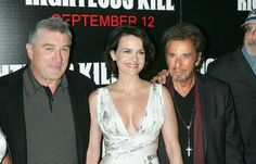 Robert De Niro, Al Pacino, and Carla Gugino The New York Premiere of RIGHTEOUS KILL, at the Ziegfeld Theater. September 10, 2008.    John Spellman / Retna Ltd