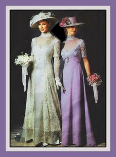 TITANIC ERA GOWNS-Sewing Pattern-Two Styles-Matching Hats-Princess Seams-Empire Waist-Lace Overlay-Deep V Neckline-Uncut-Size 14-20-Rare by FarfallaDesignStudio on Etsy